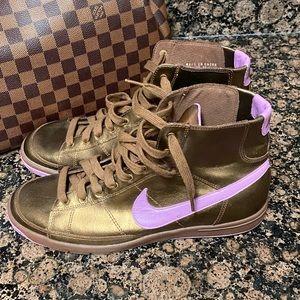 Rare Bronze Purple Leather Nike High-tops SZ 9.5